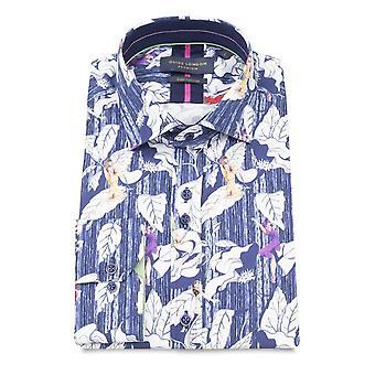 Guide London Blue Women On Leaf Print Pure Cotton Long Sleeve Men's Shirt