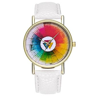 Vintage Color Wheel Color Board women Classic Style Leather Band Quartz Watch