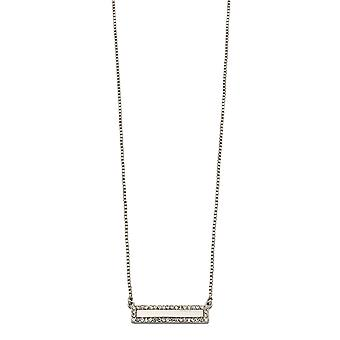 Fiorelli Fashion Imitation Rhodium Plated Clear Crystal ID Bar Necklace 41cm + 5cm