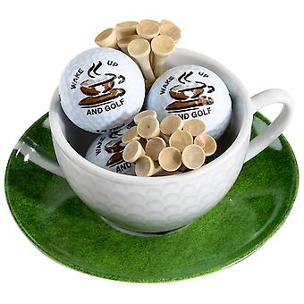 Cappuccino cup and dish Wake up with 3 golf balls and tees