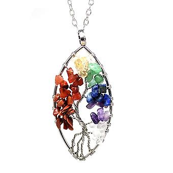 Natural Stone Tree Of Life Healing Crystal Necklaces