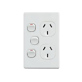Classic Double Power Point With 16Ax Extra Switch Vertical Pack