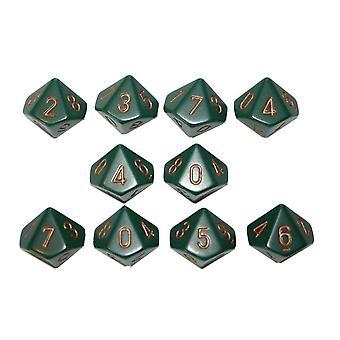Chessex Opaque 10 x D10 Set - Dusty Green/gold