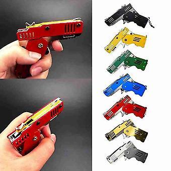 Mini dobrando rajadas de borracha arma de banda pode segurar o chaveiro feito todo o metal