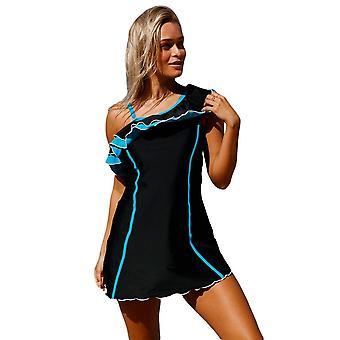 Ruffle One Shoulder Swim Dress With Shorts