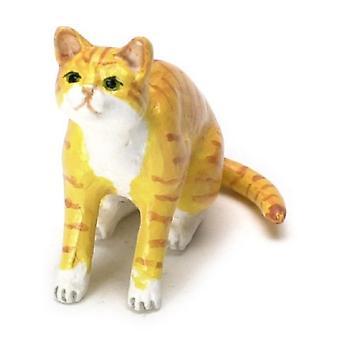 Dolls House Orange Tabby Cat Sitting Looking Up Miniature Pet Animal
