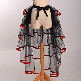 Tulle Skirt Steampunk Mesh Ruffle Layered Detachabl Bustle Overskirt