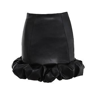 Vintage κομψό μαύρο pu φούστες