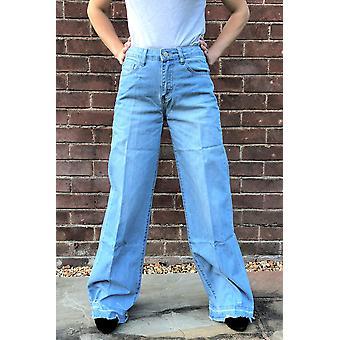 Ancho acampanado pierna Jeans rasgados patas deshilachadas - azul claro