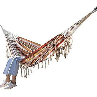Hammock Boho Large Brazilian Macrame Fringe 2 Person Double Deluxe Swing Net &