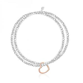 Joma Jewellery Lila Silver And Rose Gold Heart Double 17.5cm Stretch Bracelet 3948