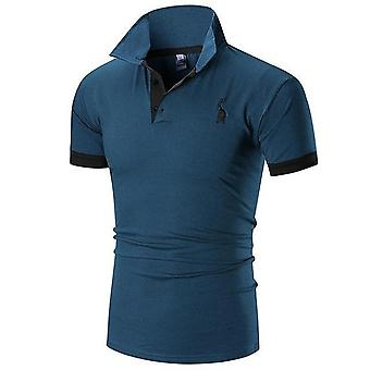 Mens Polo Shirt, Male Short Sleeve, Deer Embroidery