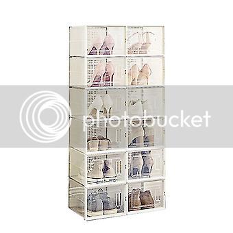 Cajas de zapatos, organizadores de zapatos transparentes, conjunto de 18 para zapatos de hasta la talla 44