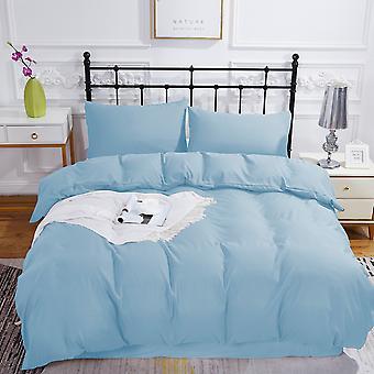 Plain Sky Sininen pussilakanasarja kaksinkertainen koko vetoketjulla 200 x 200cm 2 tyynynpäällisellä Erittäin pehmeä hypoallergeeninen mikrokuitupeittosarja