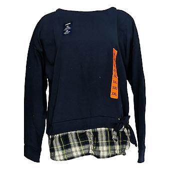 Izod Women's Sweater (XXL) Plaid Tied Tie Front 2 Fer Sweatshirt Blue