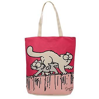 Saco de compras de algodão útil zip-up - novo gato simons rosa