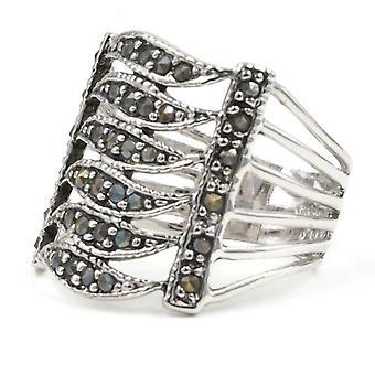 Wide Openwork Band Genuine Marcasite Ring
