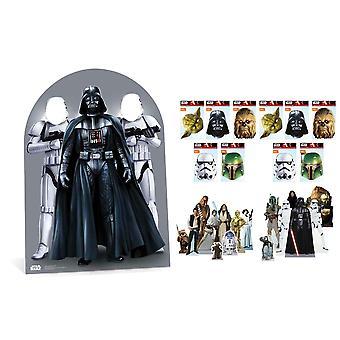 Star Wars -juhlapaketti pahvitelineillä, naamioilla ja pöytälevyillä