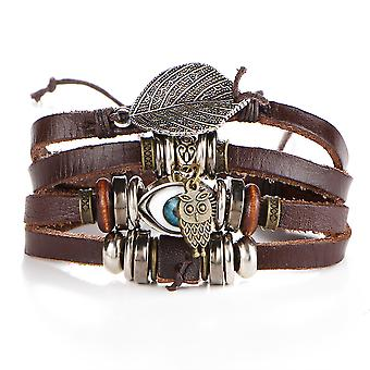 Owl Rope Multi-layer Woven Leather Bracelet