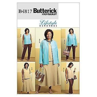 أنماط الخياطة Butterick 4817 يخطئ سترة سترة تنورة السراويل حجم 18W-24W