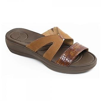 Padders Charlie Ladies Leather Extra Wide (2e) Mule Sandals Tan/combi