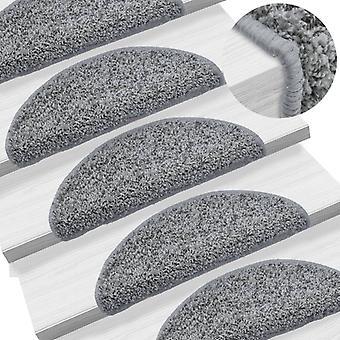 vidaXL 15 pcs. St. Stair mats Grey 56 x 20 cm