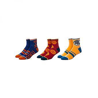 Dragon Ball Z 3-Pair Pack of Quarter Crew Socks