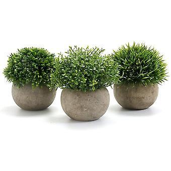FengChun Kunstpflanze 3 Stcke Knstliche Pflanze mit Grauem Topf, 9,5 x 13cm Indoor und Outdoor