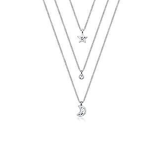 Elli Women's necklace, with star and moon-shaped pendants, layered, with Swarovski crystals, sterling silver 925