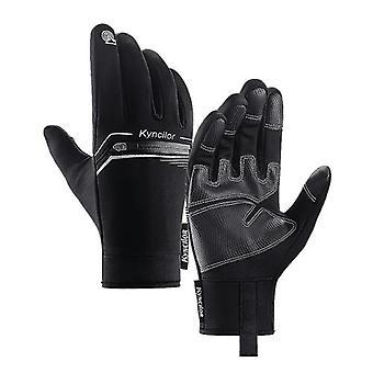 Winter Men Women Cycling Gloves Windproof Waterproof Anti-Slip Touchscreen Warm Fleece Full Finger Bicycle Skiing Gloves