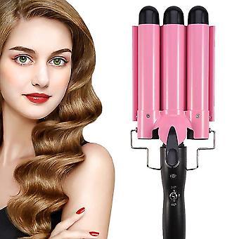 Ceramic Hair Curler Triple Barrel Curling Iron Styler 32mm Big Wave Hair Waver Roller| Rizadores