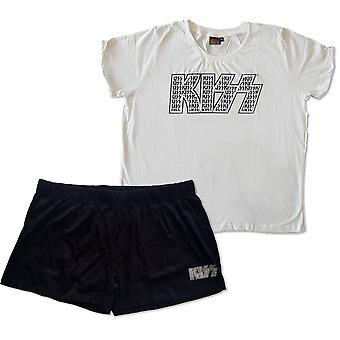 KISS - Logo Infill Ladies XX-Large Summer Pyjamas - Black/White