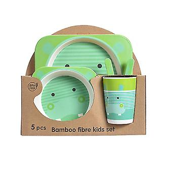 Five-piece Bamboo Fiber Children's Tableware Green Hippo Pattern Kid Sets