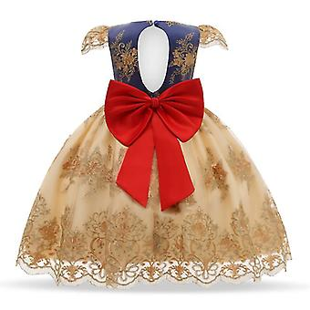 90Cm الملابس الرسمية للأطفال الأصفر أنيقة الطرف الترتر توتو التعميد فساتين عيد ميلاد الزفاف للفتيات fa1806