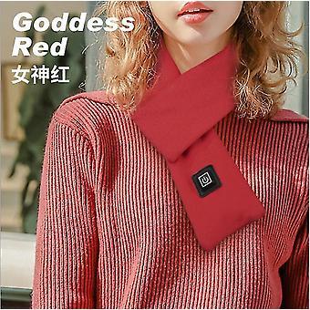 Nowy styl Pure Cotton Smart Ogrzewanie Szalik Usb Winter Warm Protect Kręgosłup szyjny (Czerwony)
