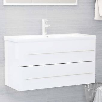 vidaXL lavabo-fond blanc 90x38,5x48 cm panneau de particules