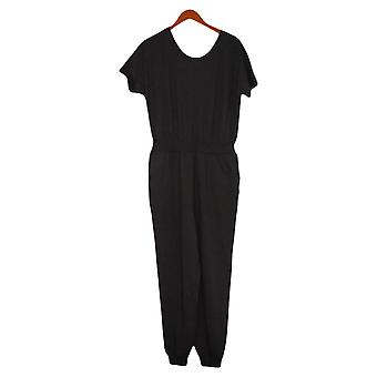 AnyBody Jumpsuits Cozy Knit French Terry Korte Mouw Zwart A393056