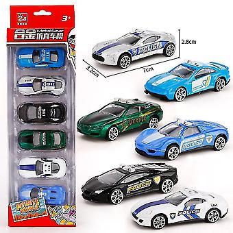6pcs Children's Mini Police Car Toy Engineering Car Model Slide Toy Car Alloy Educational Boy's Toy
