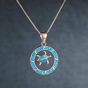 (rose gold-blue opal)  Cute Women Tortoise Necklace 14K White Gold Plated with Opal