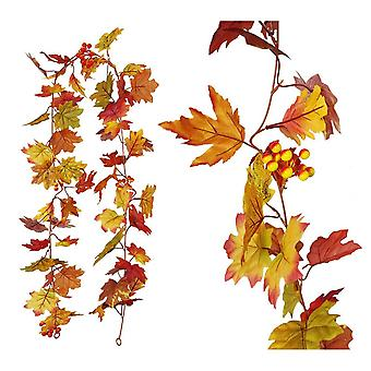 Artificial Autumn Maple Leaf Wreath, 1pcs Simulation Double Leaf Maple Leaf Garland With Hanging Hook For Thanksgiving Wedding Banquet Decoration, 175