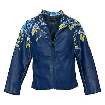 Colleen Lopez Women's Faux Leather Embroidered Jacket Blue 638980