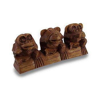 See, Hear, Speak No Evil Three Sitting Monkeys Hand-Carved Statue