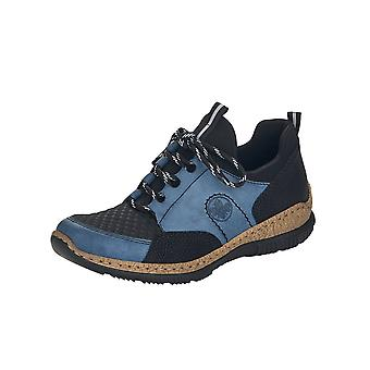 Rieker N3253-14 Guana Smart Casual Lace-up Trainers In Blue
