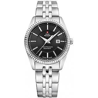 Reloj suizo military by chrono silver de acero inoxidable SM34066.01 para mujer