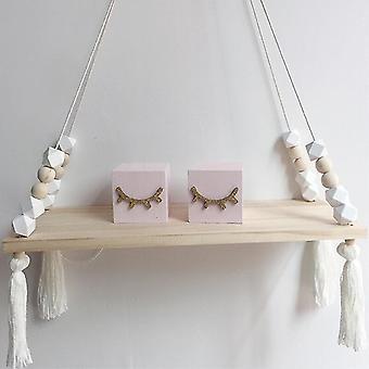 (Blanco) Niños Dormitorio Pared Colgante Estante de madera Cuerda Columpio Decoración Estantes Almacenamiento Durable