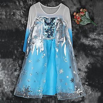 New Elsa Princess Girls Costume Party Fancy Snow Freeze Queen Cape Dress