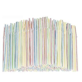Plastic Drinking Long Striped Disposable Straws