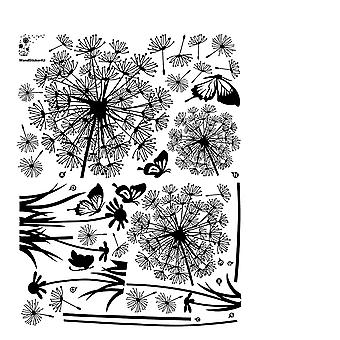 Black Dandelions And Butterflies Flying In The Wind Wall Decals