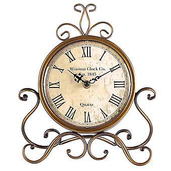 Retro Clock Living Room Decoration Clock, European Style Wrought Iron Mute Roman Table Clock, Home Decoration Wall Clock