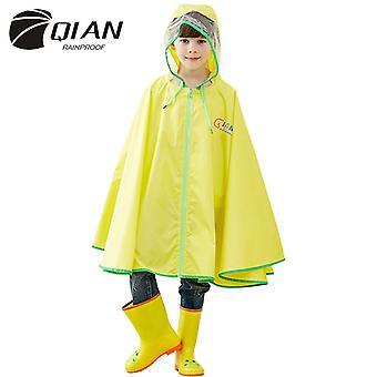 Qian Kinder Regenmantel Regenmantel Pu Beschichtet Großer Eave Umhang Regenmantel-gelb